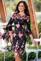 Rochie neagra de ocazie cu broderie florala • MBG