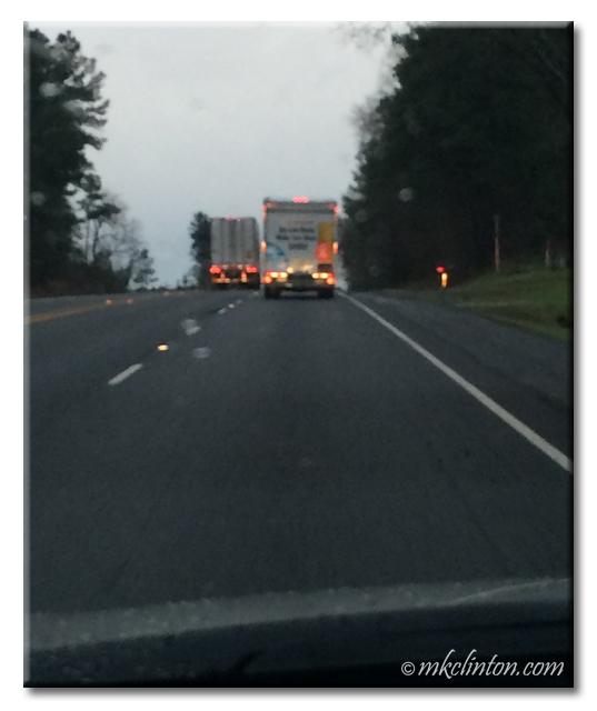 Rainy photo of a U-haul