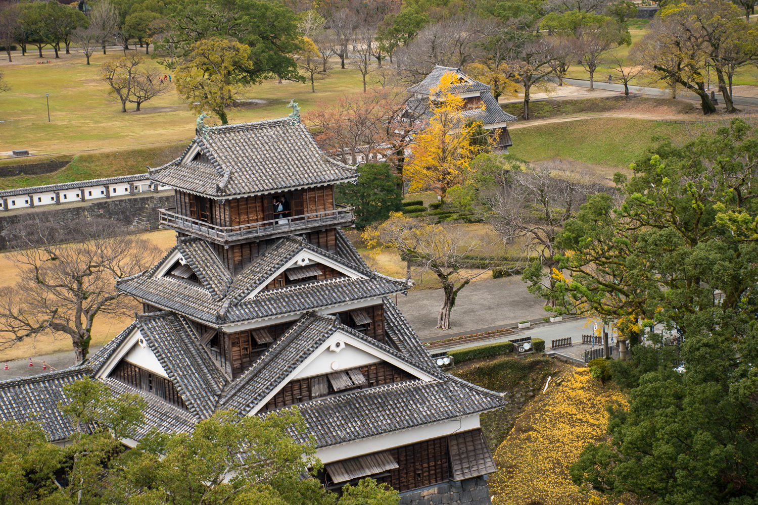 beautiful aerial view of japan Kumamoto castle Japan