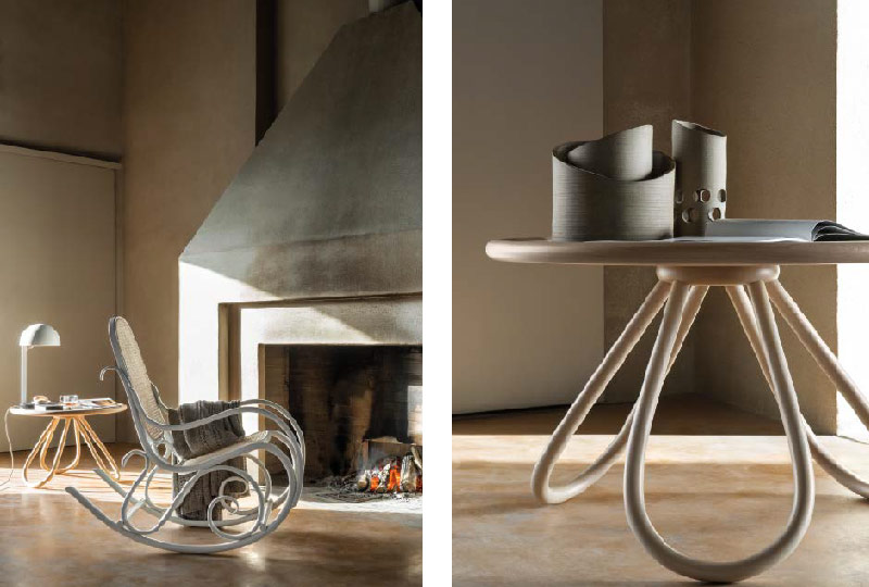 dondolo in faggio Schaukelstuhl Design Gebrüder Thonet, 1885 - Arch Coffee Table Design Front, 2014