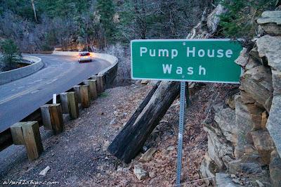Pump House wash, Arizona street sign kayak whitewater, Flagstaff, WhereIsBaer.com Chris Baer Sedona
