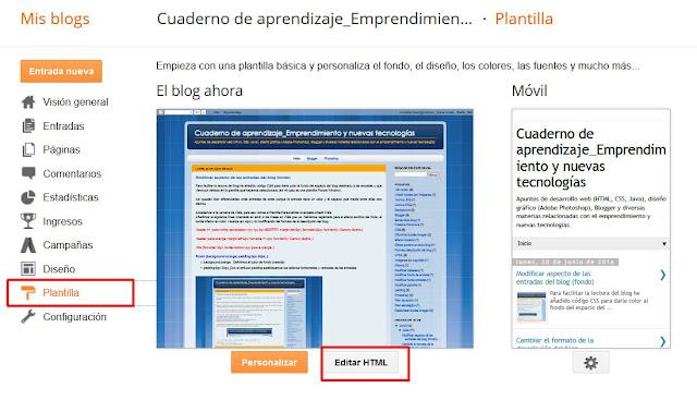 Editar Plantilla HTML
