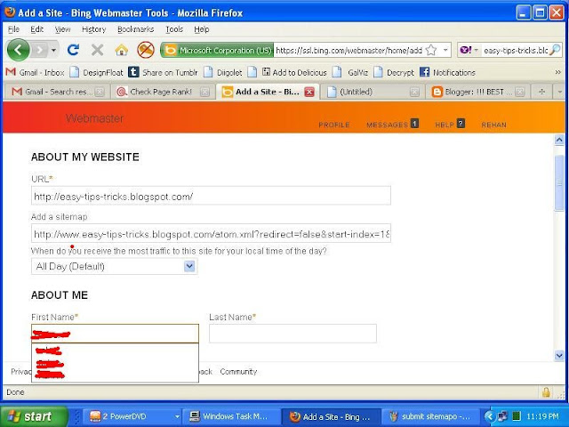 SUBMIT YOUR BLOG/WEBSITE SITEMAP TO YAHOO/BING SEARCH