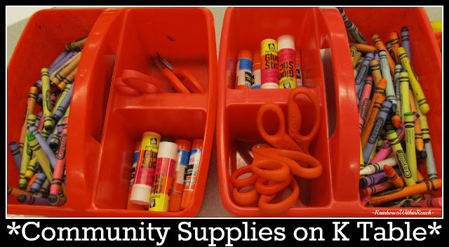 photo of: Classroom Community Supplies organized on Kindergarten Table Top