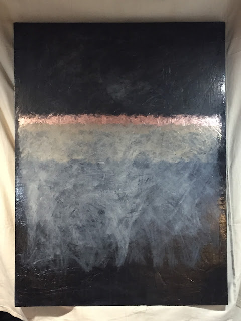 Abstract painting, neutrals, black, copper, gold