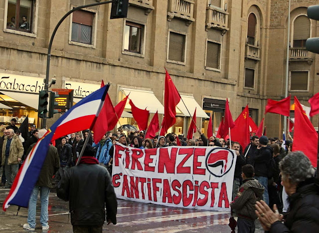 street march in Florence, Italy