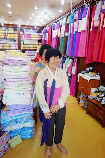 traditional Korean Hanbok shopping in Iksan city South Korea - selecting colours and style