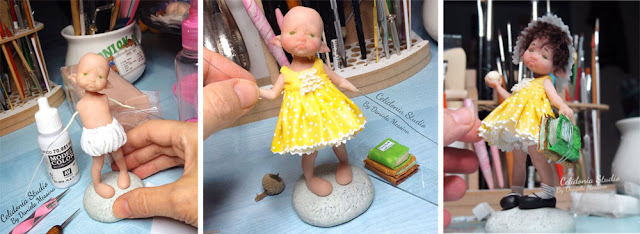 Back to School Fairy wip - polymer clay doll