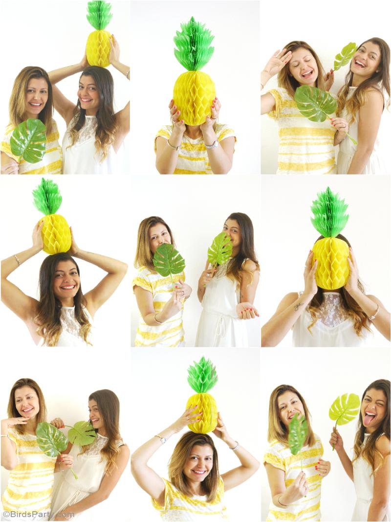Fête d'Anniversaire Thème Ananas Photo Booth DIY - BirdsParty.fr