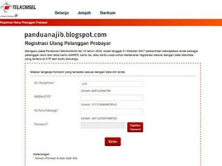 Web Registrasi Ulang Kartu Telkomsel