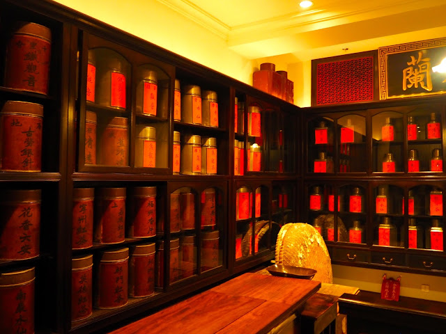 Tea shop display in Hong Kong street recreation exhibit in Hong Kong Museum of History