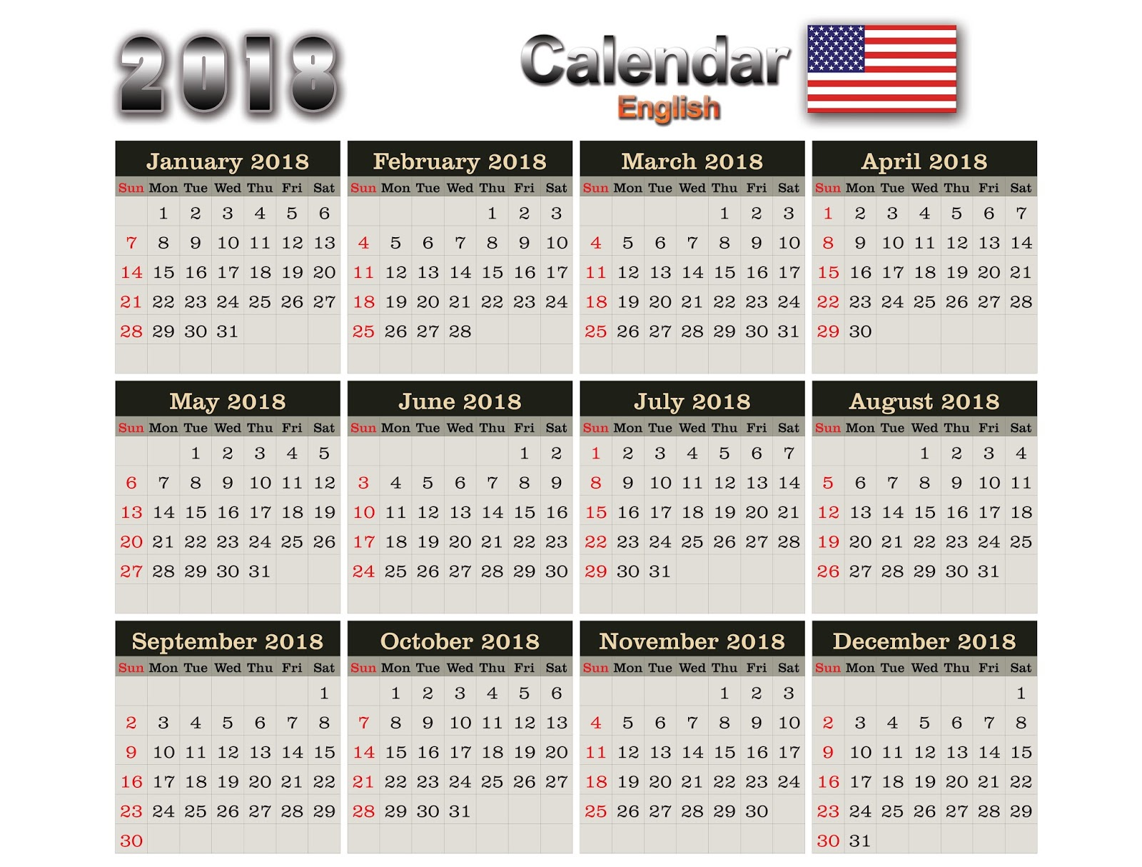 Calendar English : Calendars english eps ai cdr psd png e pdf