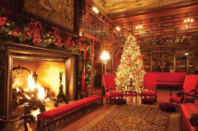 The Library at Biltmore Estate at Christmas