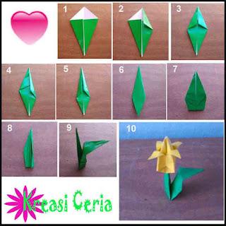 Tutorial dan cara membuat Origami daun bunga tulip