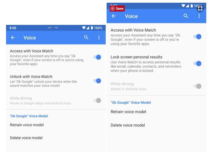 Cara Mengaktifkan Voice Match di Google Pixel 3 (kanan) dan Pixel 2 (kiri)