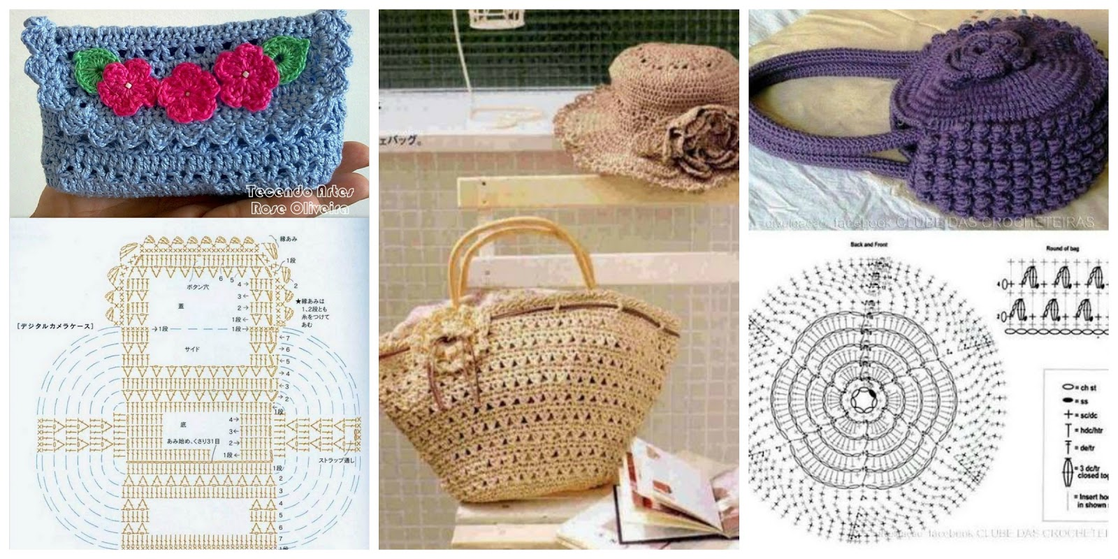 Borse e pochette fai da te 8 schemi crochet gratis for Borse a uncinetto con fettuccia schemi