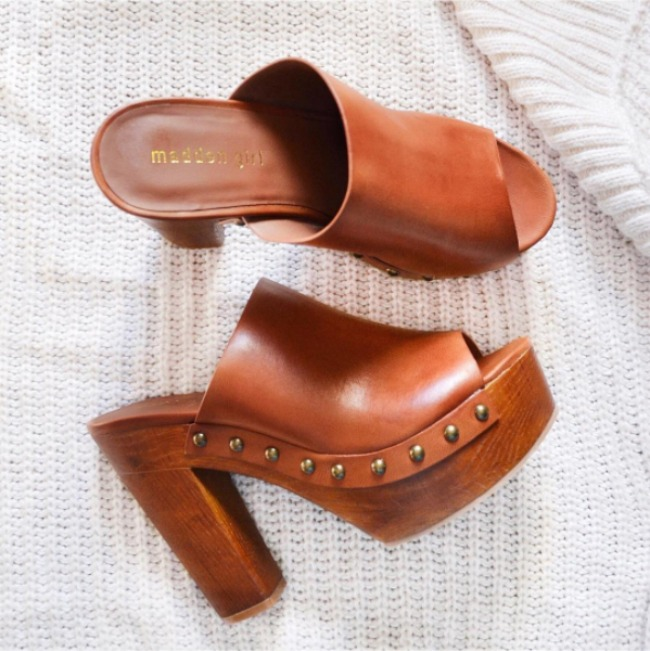 Brown mules/clog studed heels from madden girl