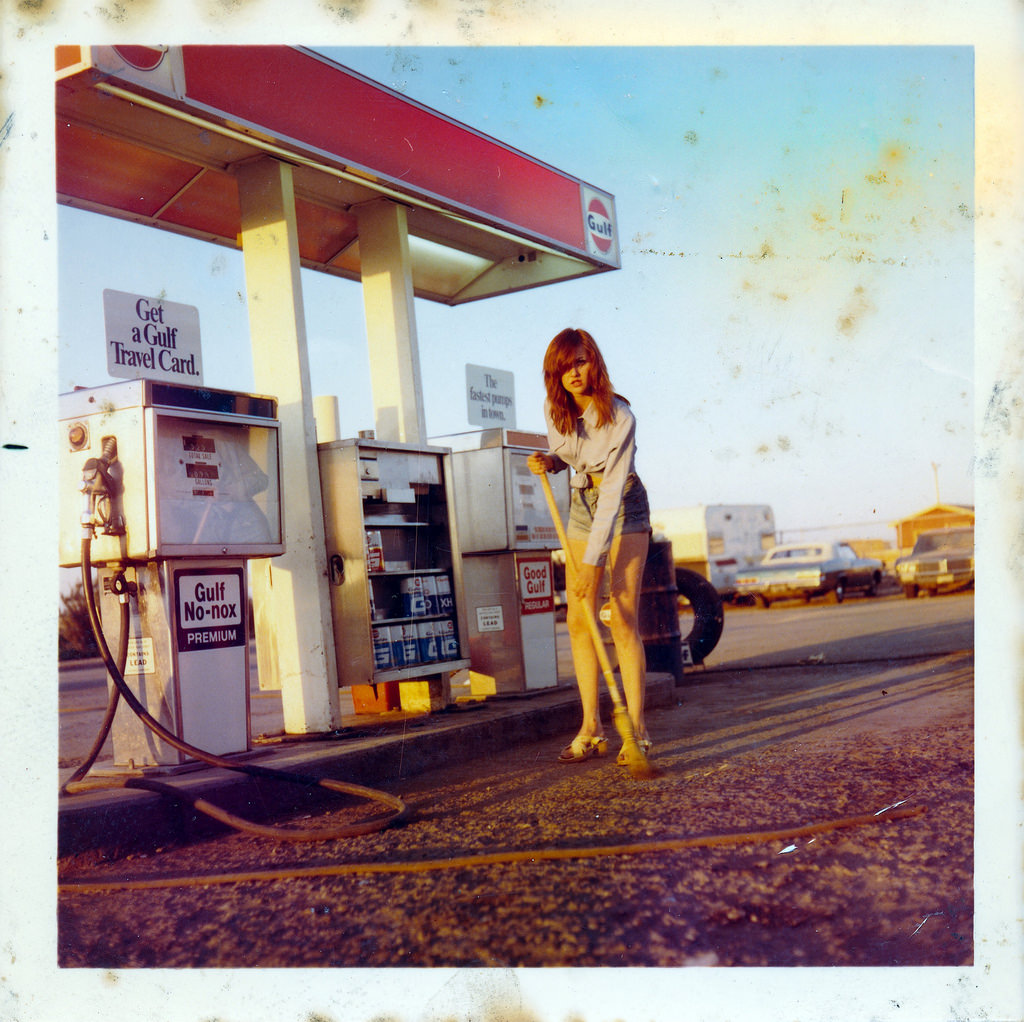 Sweeping Girl At Gas Station In 1968 Vintage Everyday