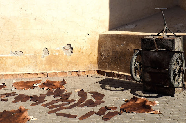 drying leather in Marrakech Photo Diary