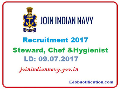Indian Navy Recruitment 2017 Steward, Chef & Hygienist posts joinindiannavy.gov.in.
