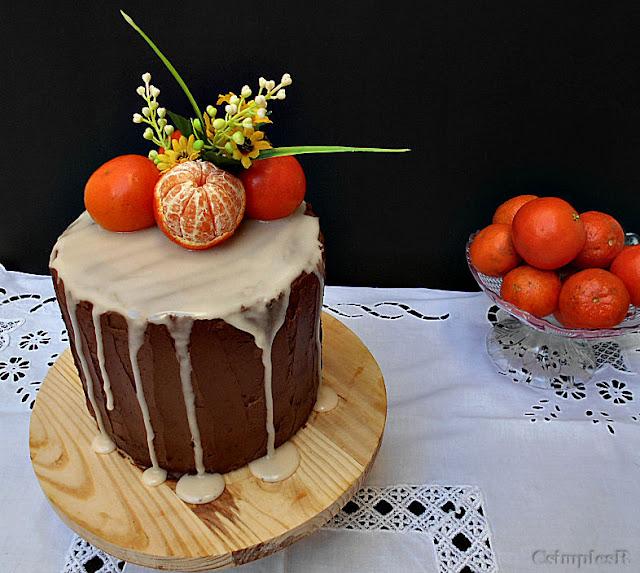 bolo de clementina cenoura e creme de chocolate