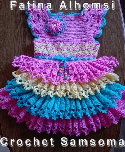 تشكيلة فساتين كروشيه اطفال للعيد مع كروشيه سمسومة . فساتين اطفال للعيد . Crochet girl dress  .  فساتين اطفال كروشيه .  . فساتين كروشيه اطفال . فساتين كروشيه .
