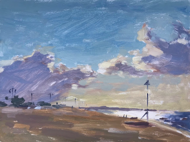 #356 'Early Light, Southsea Beach' 9×12″