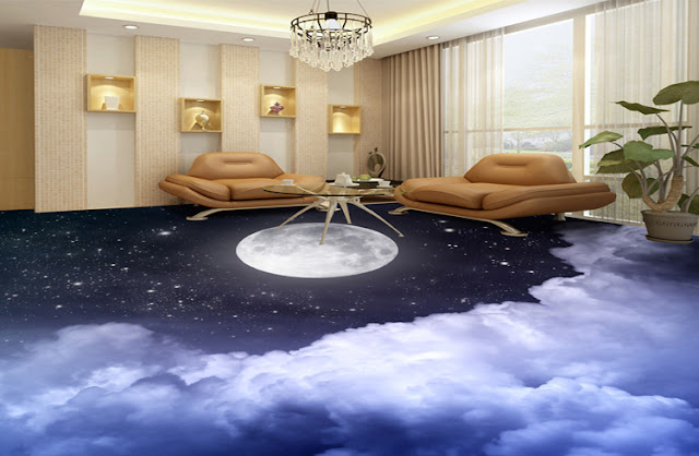 living room 3D floor designs as cloudy sky with moon