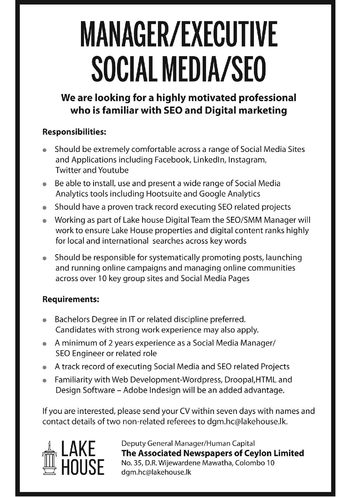 manager executive social media seo the associated sri lankan government job vacancies at the associated newspapers of ceylon for managers executives