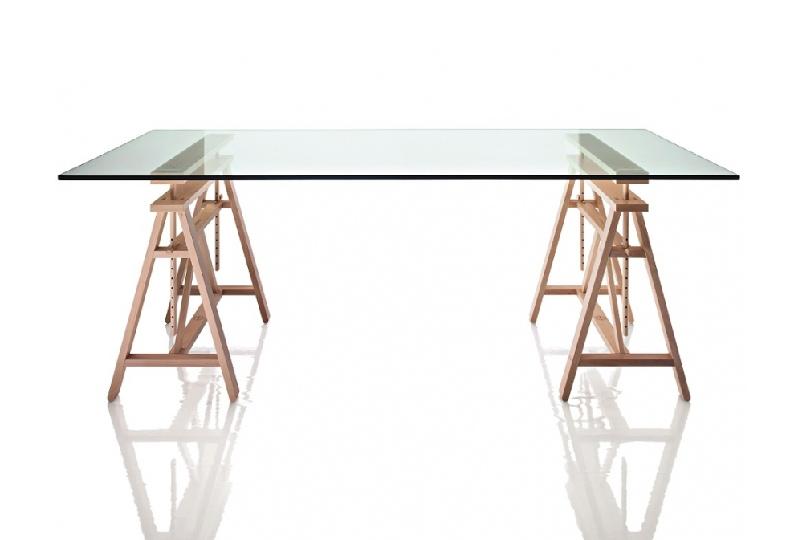 tavolo scrivania con cavalletti e piano in vetro per l'home office