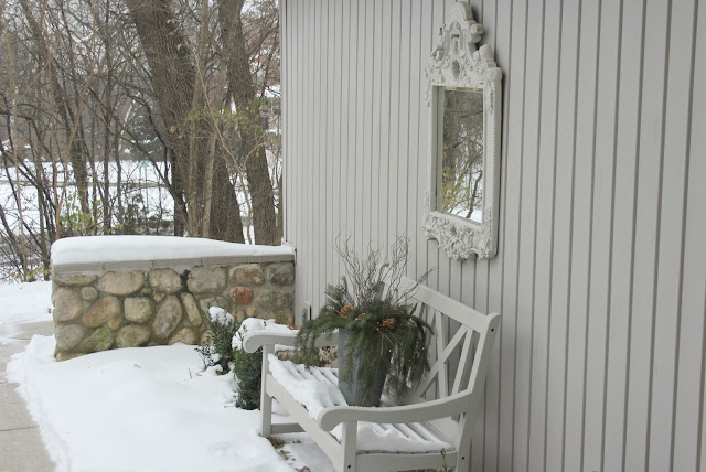 image result for modern farmhouse bench in snow with mirror
