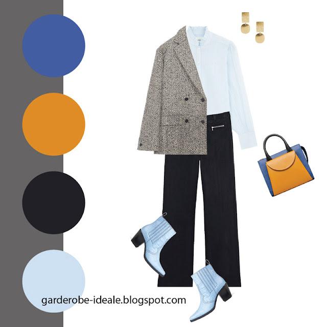 Твидовый серый жакет с черными джинсами и голубой блузкой
