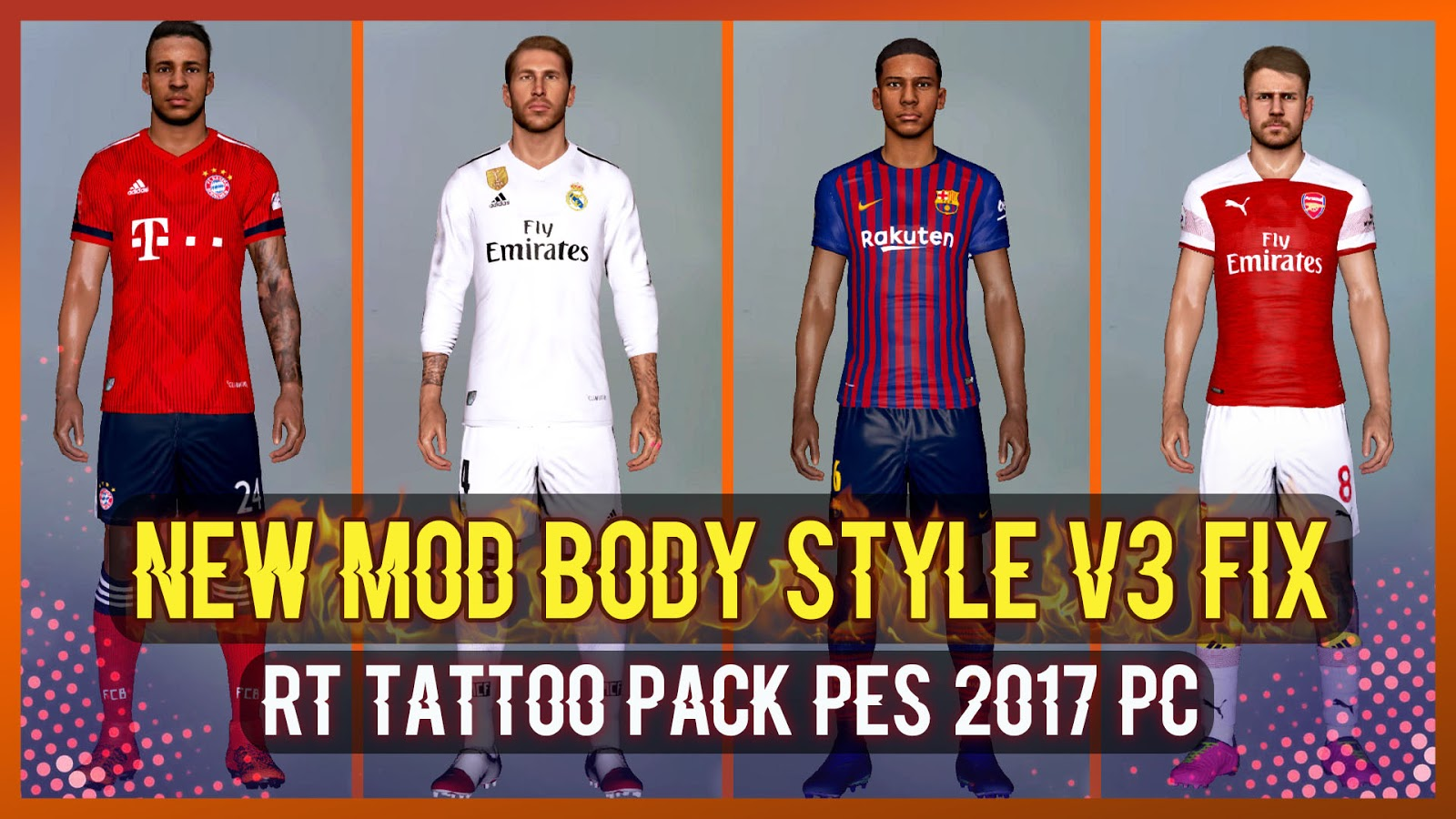 PES 2017 New Mod Full Body V3 ( RT Tattoo Pack ) 2019 by Rean Tech