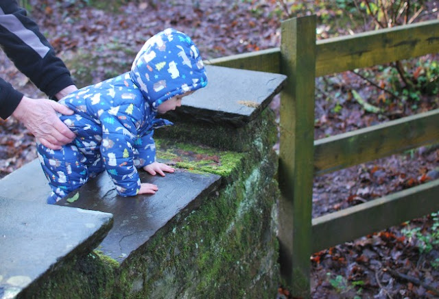 toddler in blue snowsuit leaning on wall held by adult hands