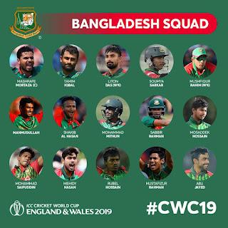 ICC Cricket World Cup 2019-Bangladesh Squad List | Bangladesh Team Squad For 2019 Cricket World Cup