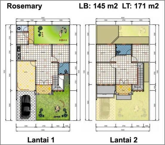 Denah Rumah Sederhana Minimalis 2 Lantai