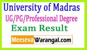 University of Madras UG/PG/Professional Degree Nov 2016 Exam Results