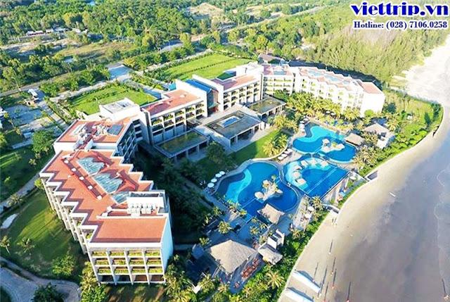 Resort xung quanh có vườn cây và biển - vietsovpetro ho tram