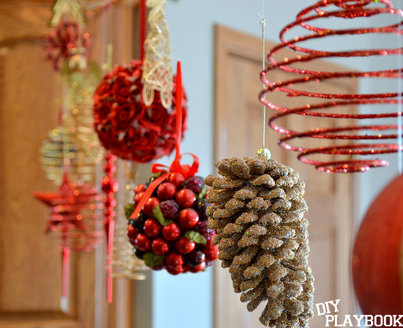 Holiday ornaments look beautiful hanging in front of a window or in another space.