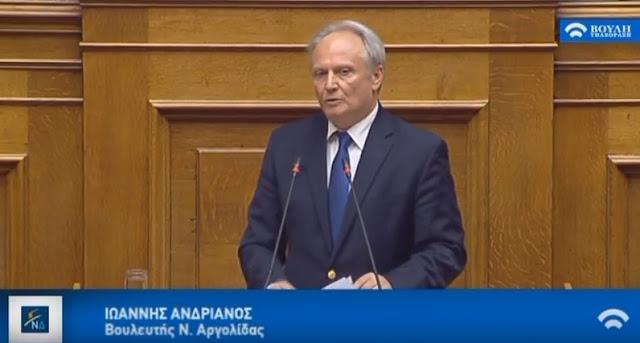 """Ανδριανός στη Βουλή: """"Εμείς θέλουμε τους Δήμους όχι αποδυναμωμένους, αλλά με περισσότερες ουσιαστικές αρμοδιότητες"""