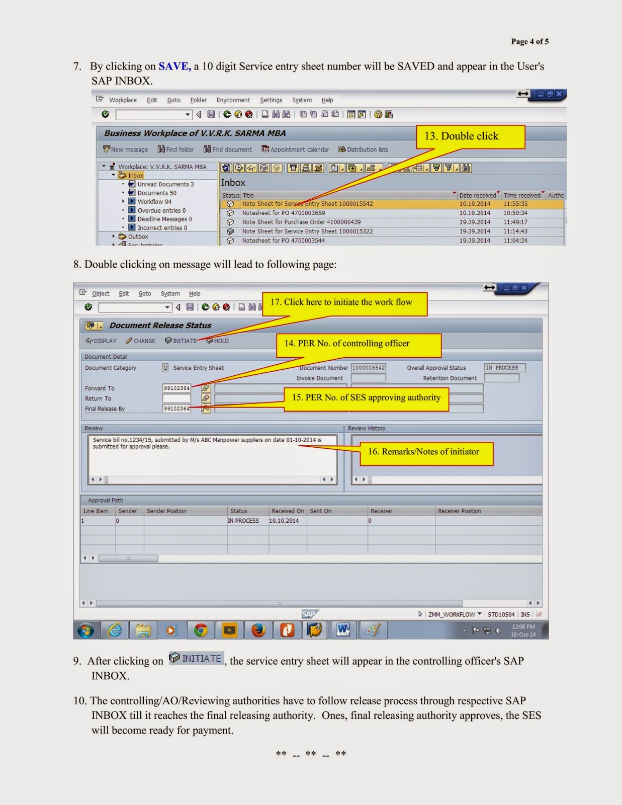 End user manual for Service Entry Sheet (SES) creation