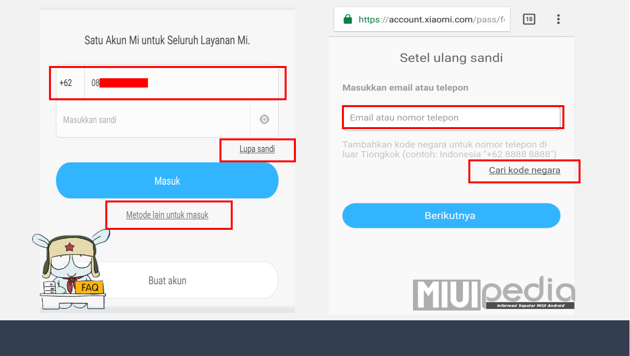 lupa password Account Mi