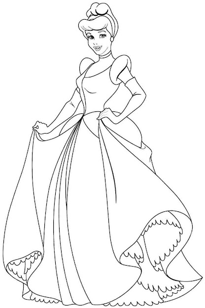 Free Coloring Pages Disney Princess Cinderella For Girls  Boys