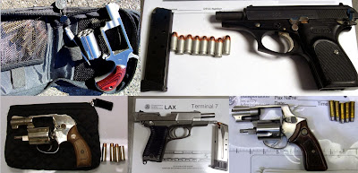 Left - Right / Top to Bottom: Firearms Discovered at AEX, DTW, RDU, LAX, MSO