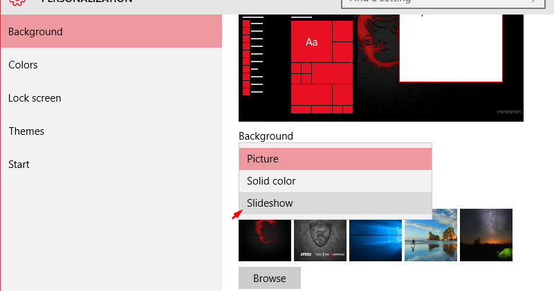 cara membuat dekstop wallpaper windows 10 slide show