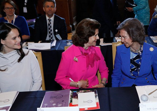Queen Sofia of Spain, Queen Silvia and pregnant Princess Sofia of Sweden attended second session of Dementia Forum X held at Stockholm Royal Palace
