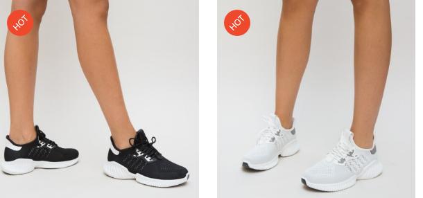 Pantofi sport ieftini moderni negri, albi din material de calitate