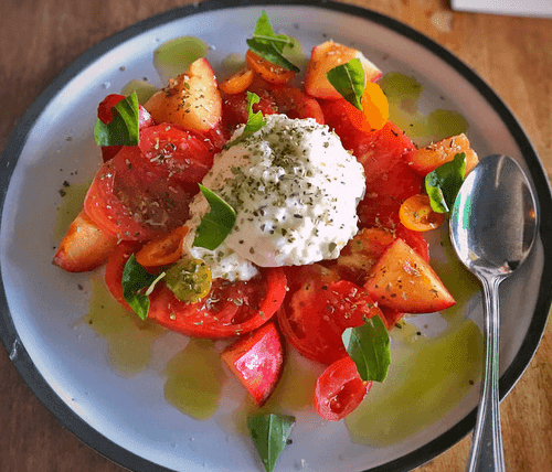 Tomato and Pluot Salad with Burrata and Herbs