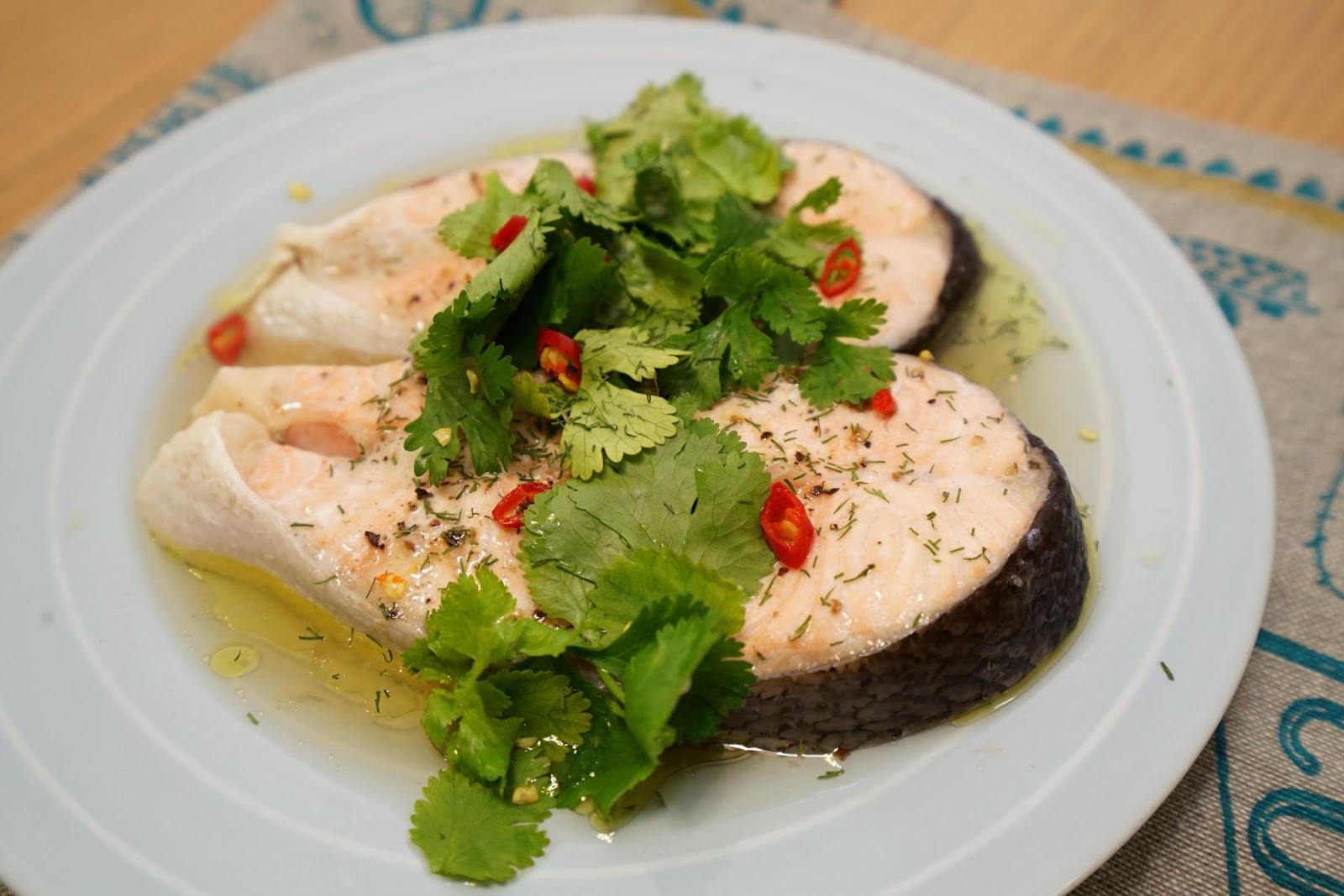 西西烹飪筆記: [食譜] 清蒸鮭魚。輕盈美味