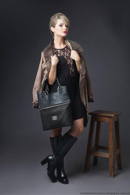 Tapados, carteras y botas de cuero otoño invierno 2016 XL. Moda invierno 2016.